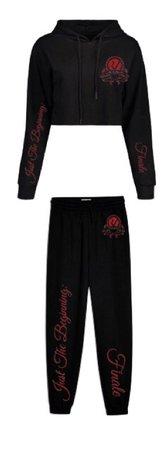 rose black sweatpants