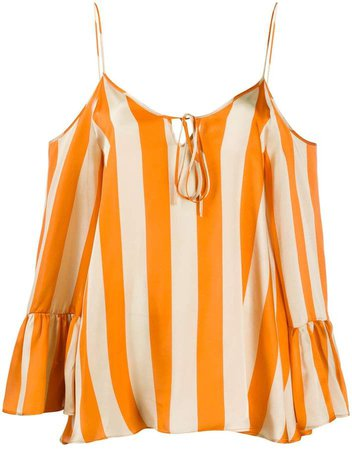 Striped-Print Silk Blouse