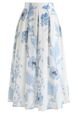 Chic Wish Blue Floral Printed Eyelet Embroidered Midi Skirt - Retro, Indie and Unique Fashion