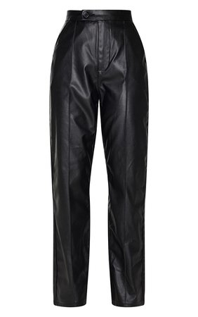Black Faux Leather Pintuck Detail Straight Leg Trousers   PrettyLittleThing