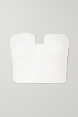 Cropped Ruched Silk-satin Bustier Top - Ivory