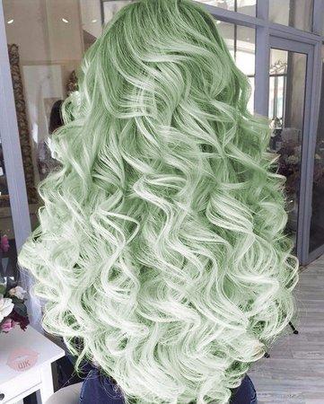 light green curly hair