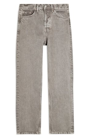 Topshop Slim Fit Straight Leg Jeans (Taupe) grey