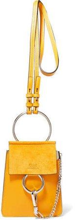 Faye Bracelet Leather And Suede Shoulder Bag - Mustard