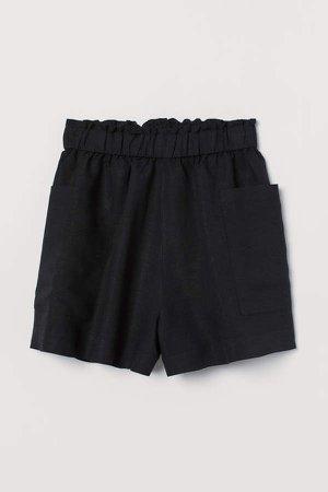 Linen-blend Shorts High Waist - Black