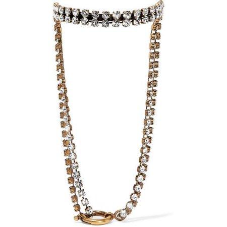 Balenciaga Gold-tone crystal necklace
