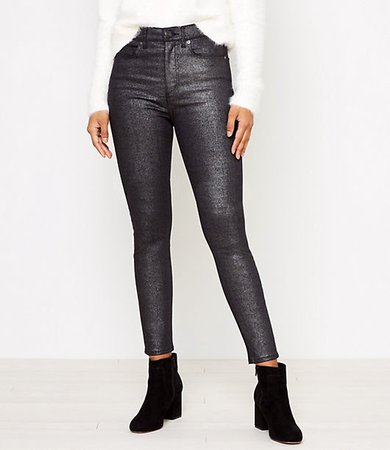High Rise Skinny Jeans in Black Shimmer