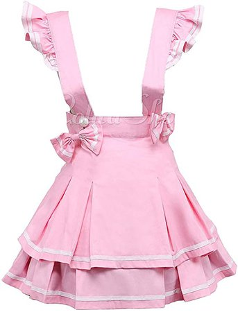 Pink Suspenders Cotton Layered Bow Pleated Lolita Skirt Short Dress
