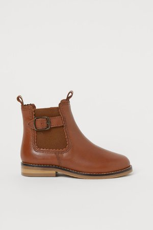 Leather ankle boots - Brown - Kids | H&M GB