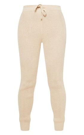 Grey Waffle Knit Jogger   Knitwear   PrettyLittleThing