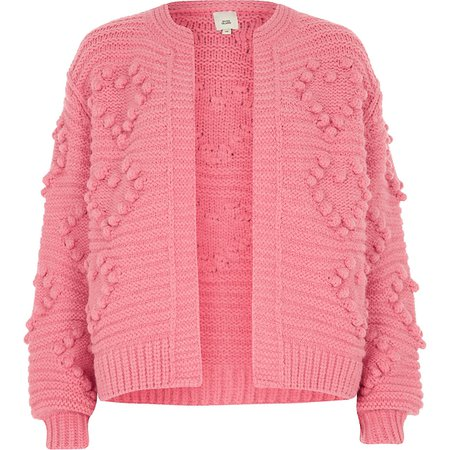 Pink bobble heart knit cardigan - Cardigans - Knitwear - women