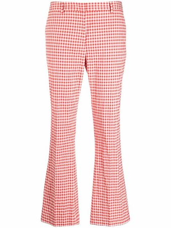 Pt01 gingham check-print flared trousers - FARFETCH