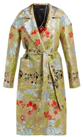 Belted Floral Brocade Coat - Womens - Green Multi