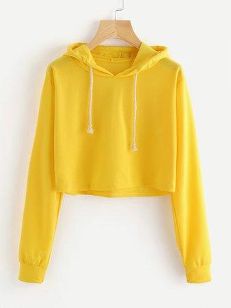 Drawstring Hooded Crop Sweatshirt | ROMWE