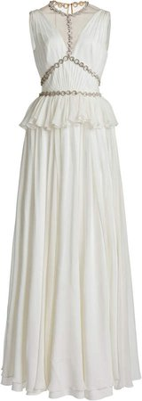 Jenny Packham Embroidered Crepe Peplum Gown