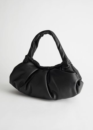 Gathered Leather Bag - Black - Shoulderbags - & Other Stories