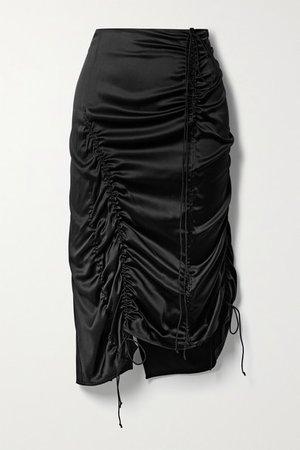 Ruched Silk-blend Satin Midi Skirt - Black