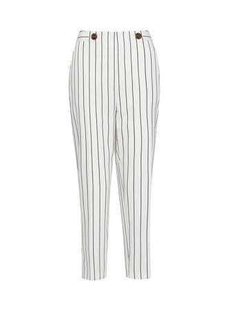 White Pinstriped Ankle Grazer Trousers | Dorothy Perkins