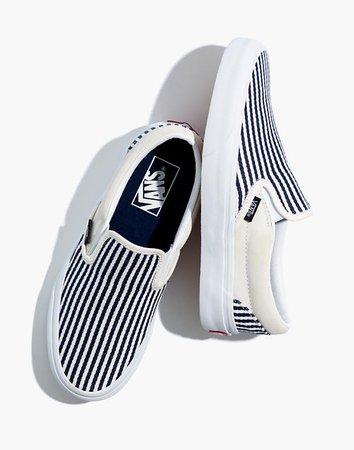 Vans® Unisex Classic Slip-On Sneakers in Railroad Stripes