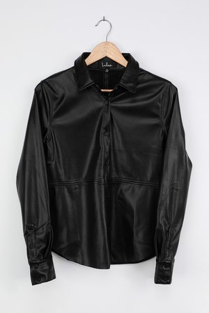 Black Button-Up Top - Vegan Leather Blouse - Long Sleeve Top - Lulus