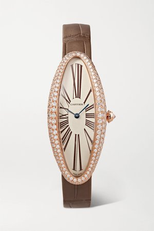 Rose gold Baignoire Allongée 21mm medium 18-karat pink gold, alligator and diamond watch | Cartier | NET-A-PORTER
