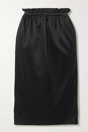 Satin Midi Skirt - Black
