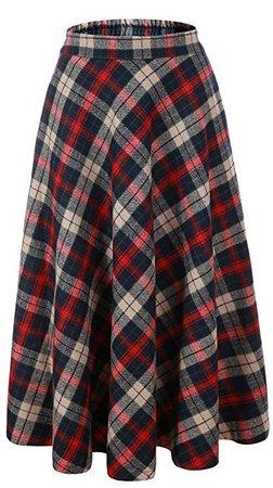 "Vocni Women Flared Plaid A-Line Winter Wool Blend Midi Long Skirt, Red Blue Plaid, US XS/Tag L (Waist 28"") at Amazon Women's Clothing store"