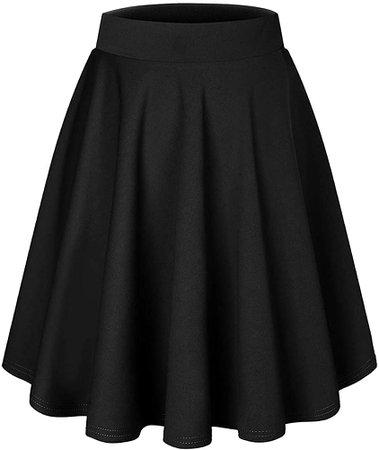 DRESSTELLS Black Skirt for Women A Line Mini Skirt Pleated Skirts for Girls, Versatile High Waisted Skirt Basic Stretchy Flared Skater Skirt Black M at Amazon Women's Clothing store