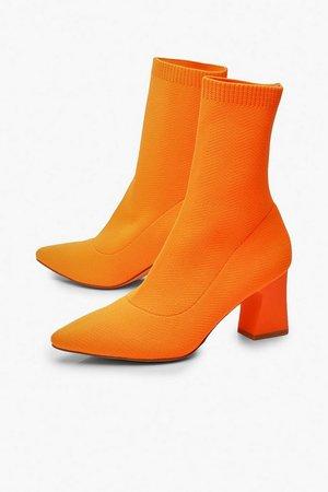 Knitted Low Block Heel Sock Boots   Boohoo