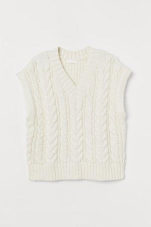 Cable-knit Sweater Vest - White - Ladies   H&M US