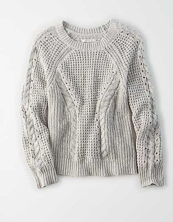 AE Cable Knit Crew Neck Sweater grey