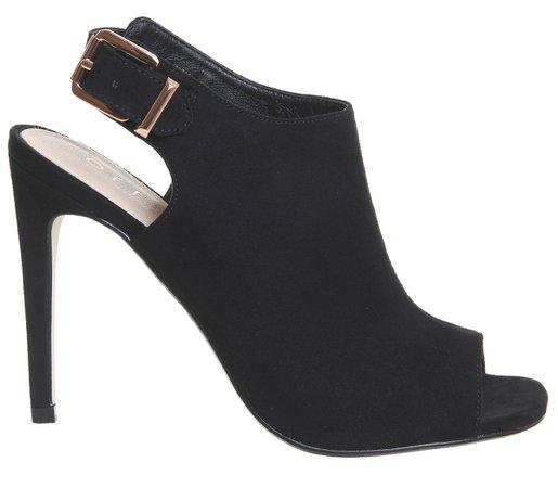 Office Heist Peep Toe Shoe Boots Black - High Heels