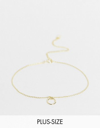 Kingsley Ryan Curve bracelet with circle charm in sterling silver gold plate | ASOS