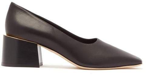 Margrette Square-toe Leather Pumps - Womens - Black