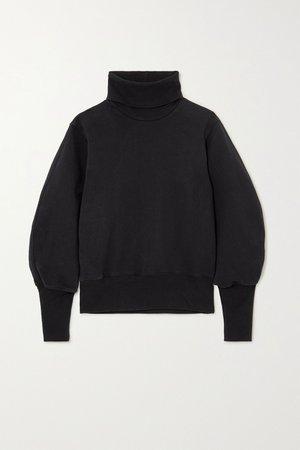 Black Cotton-jersey turtleneck sweatshirt