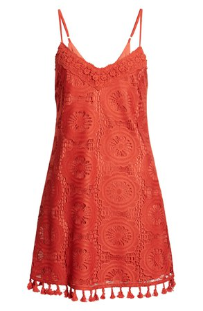 Speechless Tassel Trim Lace Slipdress | Nordstrom