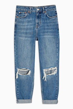 PETITE Mid Stone Rip Mom Tapered Jeans   Topshop