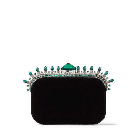 Black Velvet Clutch Bag with Dark Green Crown Jewels|CLOUD| Autumn Winter 19| JIMMY CHOO