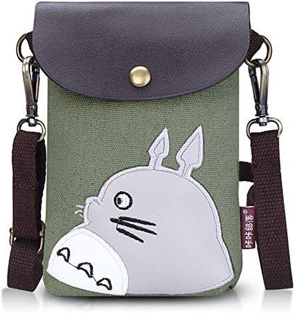 Abaddon Canvas Small Cute Crossbody Cell Wallet Bag Phone Purse with Shoulder Strap (green totoro): Handbags: Amazon.com
