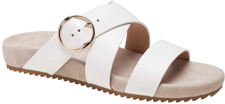 Leather Buckle Slide Sandal