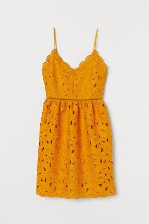 Lace V-neck Dress - Dark yellow - | H&M US