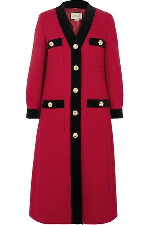 Gucci | Velvet-trimmed wool-crepe coat | NET-A-PORTER.COM