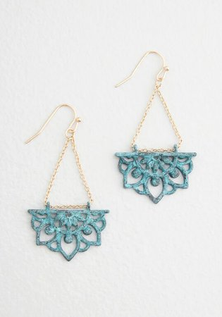 Lotus Garden Dangle Earrings in Turquoise/Gold | ModCloth