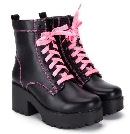 pink black combat boots