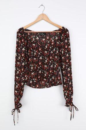 Black Floral Print Top - Long Sleeve Blouse - Floral Print Blouse