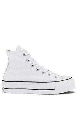 Converse Chuck Taylor All Star Lift Hi Sneaker in White & Black | REVOLVE