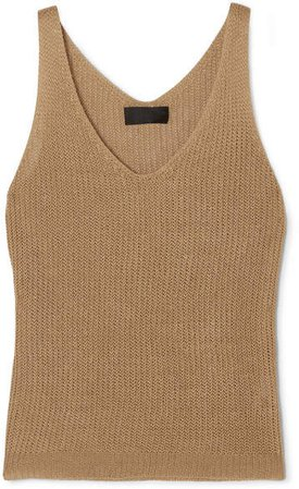 Nala Open-knit Linen Tank - Camel