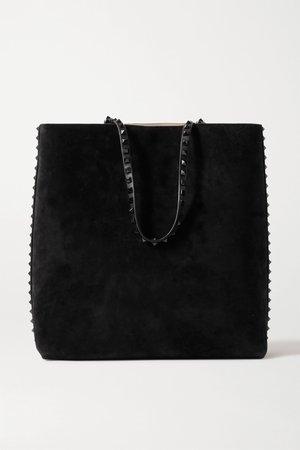 Black Valentino Garavani Rockstud suede and leather tote | Valentino | NET-A-PORTER
