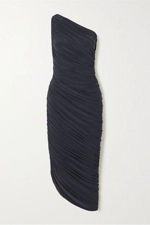 Gray Diana one-shoulder ruched stretch-jersey dress | Norma Kamali | NET-A-PORTER
