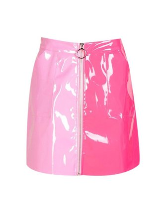 pink two tone leather skirt